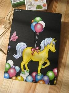 かわいい馬のチョークアート