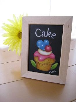 カップケーキのチョークアート作品