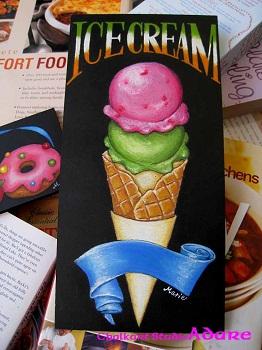 アイスクリームのチョークアート